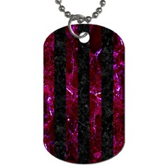 Stripes1 Black Marble & Burgundy Marble Dog Tag (one Side) by trendistuff