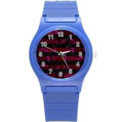 Stripes2 Black Marble & Burgundy Marble Round Plastic Sport Watch (s) by trendistuff