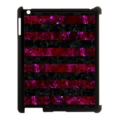 Stripes2 Black Marble & Burgundy Marble Apple Ipad 3/4 Case (black) by trendistuff
