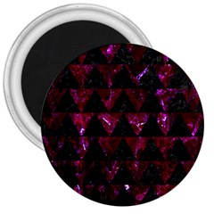 Triangle2 Black Marble & Burgundy Marble 3  Magnets by trendistuff