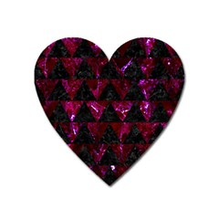 Triangle2 Black Marble & Burgundy Marble Heart Magnet by trendistuff