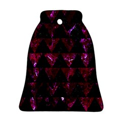 Triangle2 Black Marble & Burgundy Marble Bell Ornament (two Sides) by trendistuff