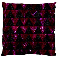 Triangle2 Black Marble & Burgundy Marble Large Flano Cushion Case (one Side) by trendistuff