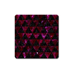 Triangle3 Black Marble & Burgundy Marble Square Magnet by trendistuff