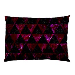 Triangle3 Black Marble & Burgundy Marble Pillow Case by trendistuff