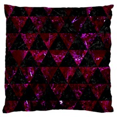 Triangle3 Black Marble & Burgundy Marble Large Cushion Case (two Sides) by trendistuff