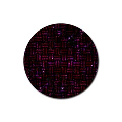 Woven1 Black Marble & Burgundy Marble Rubber Coaster (round)  by trendistuff