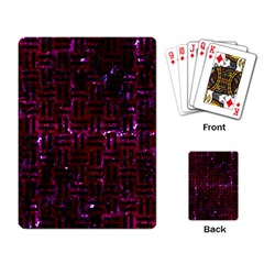 Woven1 Black Marble & Burgundy Marble (r) Playing Card by trendistuff