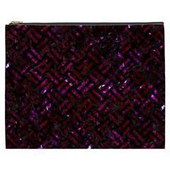 Woven2 Black Marble & Burgundy Marble Cosmetic Bag (xxxl)  by trendistuff