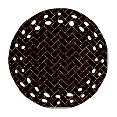Brick2 Black Marble & Copper Foil Round Filigree Ornament (two Sides) by trendistuff
