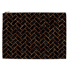 Brick2 Black Marble & Copper Foil Cosmetic Bag (xxl)  by trendistuff