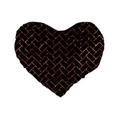 Brick2 Black Marble & Copper Foil Standard 16  Premium Heart Shape Cushions by trendistuff