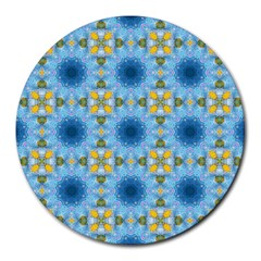 Blue Nice Daisy Flower Ang Yellow Squares Round Mousepads by MaryIllustrations