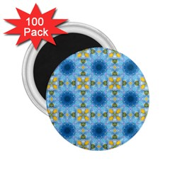 Blue Nice Daisy Flower Ang Yellow Squares 2 25  Magnets (100 Pack)  by MaryIllustrations
