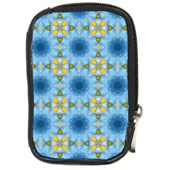 Blue Nice Daisy Flower Ang Yellow Squares Compact Camera Cases by MaryIllustrations