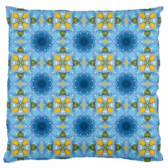 Blue Nice Daisy Flower Ang Yellow Squares Large Cushion Case (one Side) by MaryIllustrations