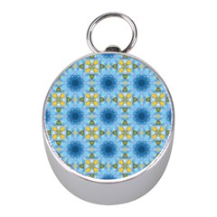 Blue Nice Daisy Flower Ang Yellow Squares Mini Silver Compasses by MaryIllustrations