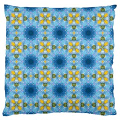 Blue Nice Daisy Flower Ang Yellow Squares Large Flano Cushion Case (one Side) by MaryIllustrations