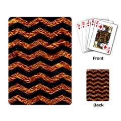 Chevron3 Black Marble & Copper Foil Playing Card by trendistuff