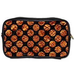 Circles2 Black Marble & Copper Foil Toiletries Bags 2 Side by trendistuff