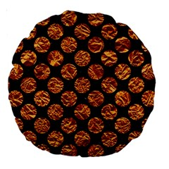 Circles2 Black Marble & Copper Foil Large 18  Premium Round Cushions by trendistuff