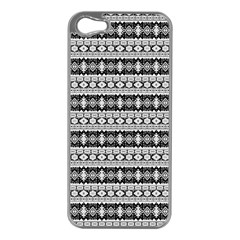 Fancy Tribal Border Pattern 17b Apple Iphone 5 Case (silver) by MoreColorsinLife