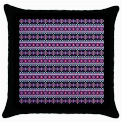 Fancy Tribal Border Pattern 17c Throw Pillow Case (black) by MoreColorsinLife