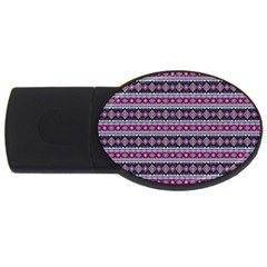 Fancy Tribal Border Pattern 17c Usb Flash Drive Oval (2 Gb) by MoreColorsinLife