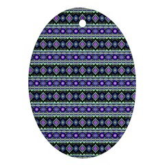 Fancy Tribal Border Pattern 17d Oval Ornament (two Sides) by MoreColorsinLife