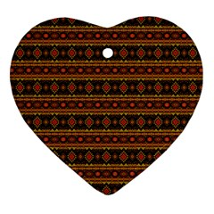 Fancy Tribal Border Pattern 17e Heart Ornament (two Sides) by MoreColorsinLife