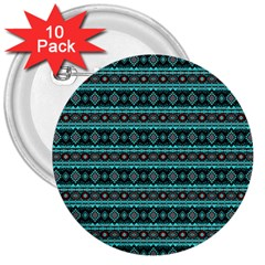 Fancy Tribal Border Pattern 17g 3  Buttons (10 Pack)  by MoreColorsinLife