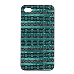 Fancy Tribal Border Pattern 17g Apple Iphone 4/4s Seamless Case (black) by MoreColorsinLife