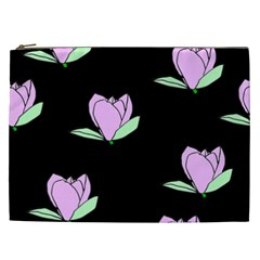Black Magnolia Cosmetic Bag (xxl)  by AllOverIt