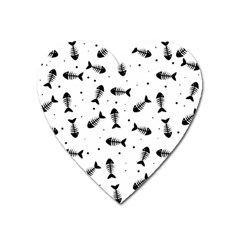 Fish Bones Pattern Heart Magnet by Valentinaart