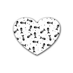 Fish Bones Pattern Rubber Coaster (heart)  by Valentinaart
