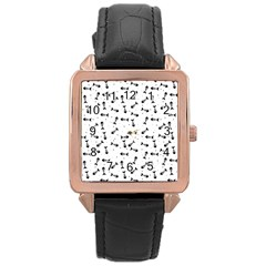 Fish Bones Pattern Rose Gold Leather Watch  by Valentinaart