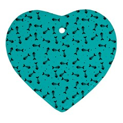 Fish Bones Pattern Ornament (heart) by ValentinaDesign