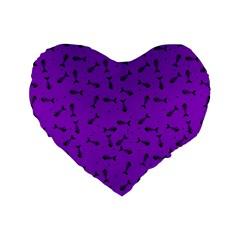 Fish Bones Pattern Standard 16  Premium Heart Shape Cushions by ValentinaDesign