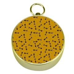 Fish Bones Pattern Gold Compasses by ValentinaDesign