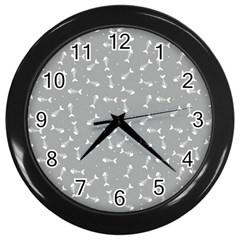 Fish Bones Pattern Wall Clocks (black) by ValentinaDesign