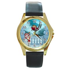 Christmas Design, Santa Claus With Reindeer In The Sky Round Gold Metal Watch by FantasyWorld7