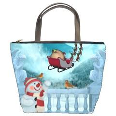 Christmas Design, Santa Claus With Reindeer In The Sky Bucket Bags by FantasyWorld7