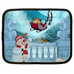 Christmas Design, Santa Claus With Reindeer In The Sky Netbook Case (xxl)  by FantasyWorld7