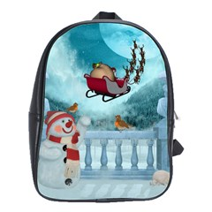 Christmas Design, Santa Claus With Reindeer In The Sky School Bag (large) by FantasyWorld7