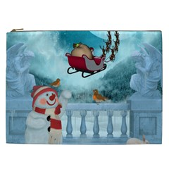 Christmas Design, Santa Claus With Reindeer In The Sky Cosmetic Bag (xxl)  by FantasyWorld7