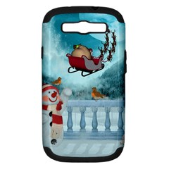 Christmas Design, Santa Claus With Reindeer In The Sky Samsung Galaxy S Iii Hardshell Case (pc+silicone) by FantasyWorld7