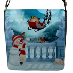 Christmas Design, Santa Claus With Reindeer In The Sky Flap Messenger Bag (s) by FantasyWorld7