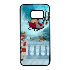 Christmas Design, Santa Claus With Reindeer In The Sky Samsung Galaxy S7 Black Seamless Case by FantasyWorld7