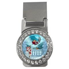 Christmas Design, Santa Claus With Reindeer In The Sky Money Clips (cz)  by FantasyWorld7