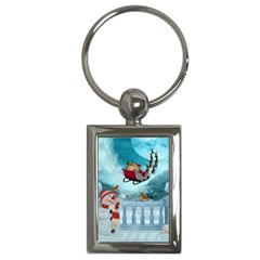 Christmas Design, Santa Claus With Reindeer In The Sky Key Chains (rectangle)  by FantasyWorld7